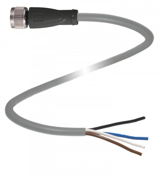 Kabeldose gerade, M12, 5-polig mit 5 m PUR-Kabel